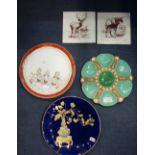 Lot 238 - A VICTORIAN MINTON MAJOLICA DISH and similar ceramics