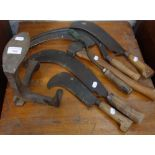 Lot 180 - A COLLECTION OF VINTAGE HAND TOOLS to include scythes