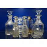 Lot 190 - A PAIR OF 19TH CENTURY CUT GLASS DECANTERS and similar glassware