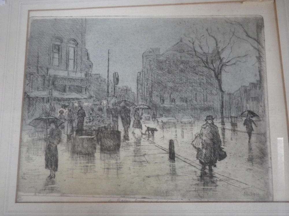 Lot 684A - MICHAEL BLAKER, R.E: 'Rainy Evening in London', etching