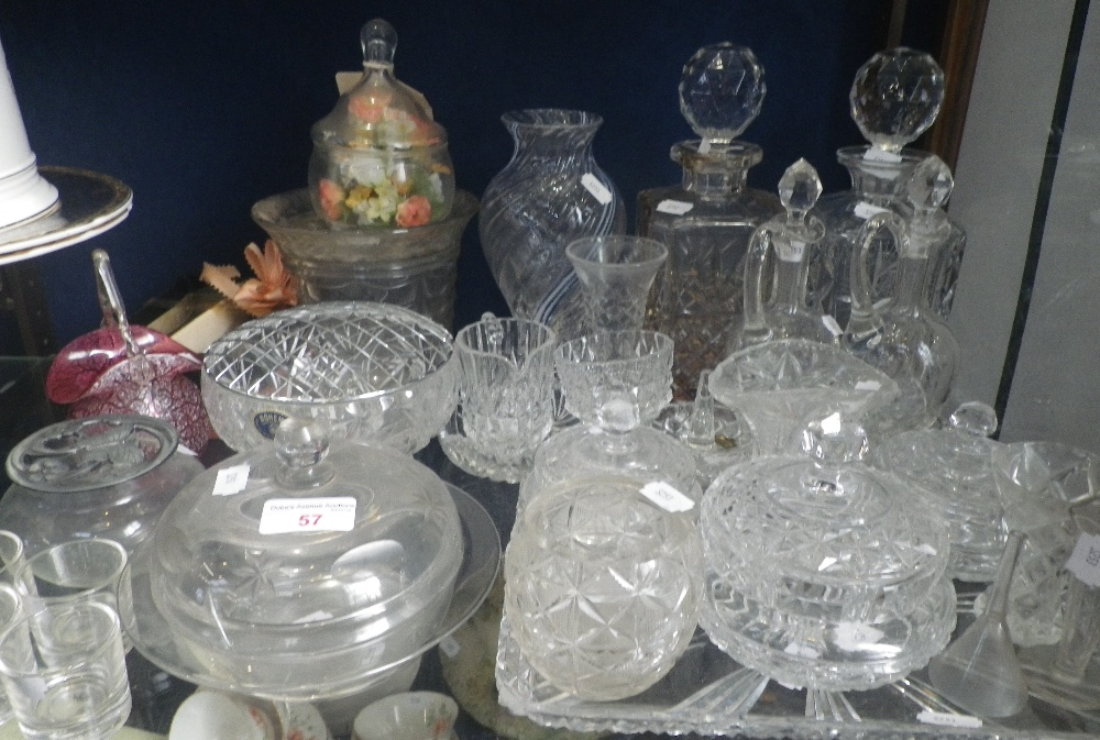 Lot 57 - TWO CUT GLASS DECANTERS and other glassware