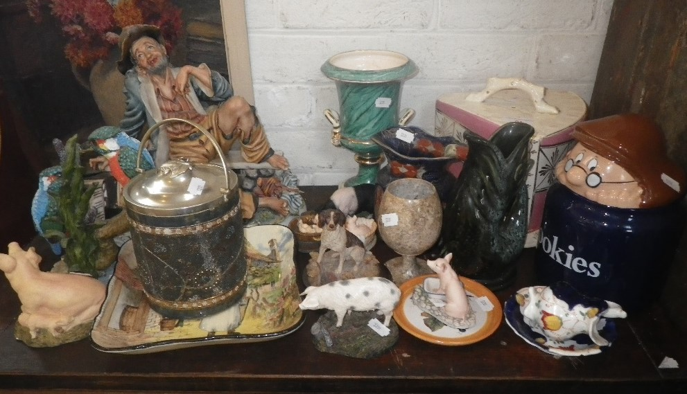 """Lot 51 - A ROYAL DOULTON SERIES WARE DISH """"Gaffers"""", a Victorian cheese dish and other items"""