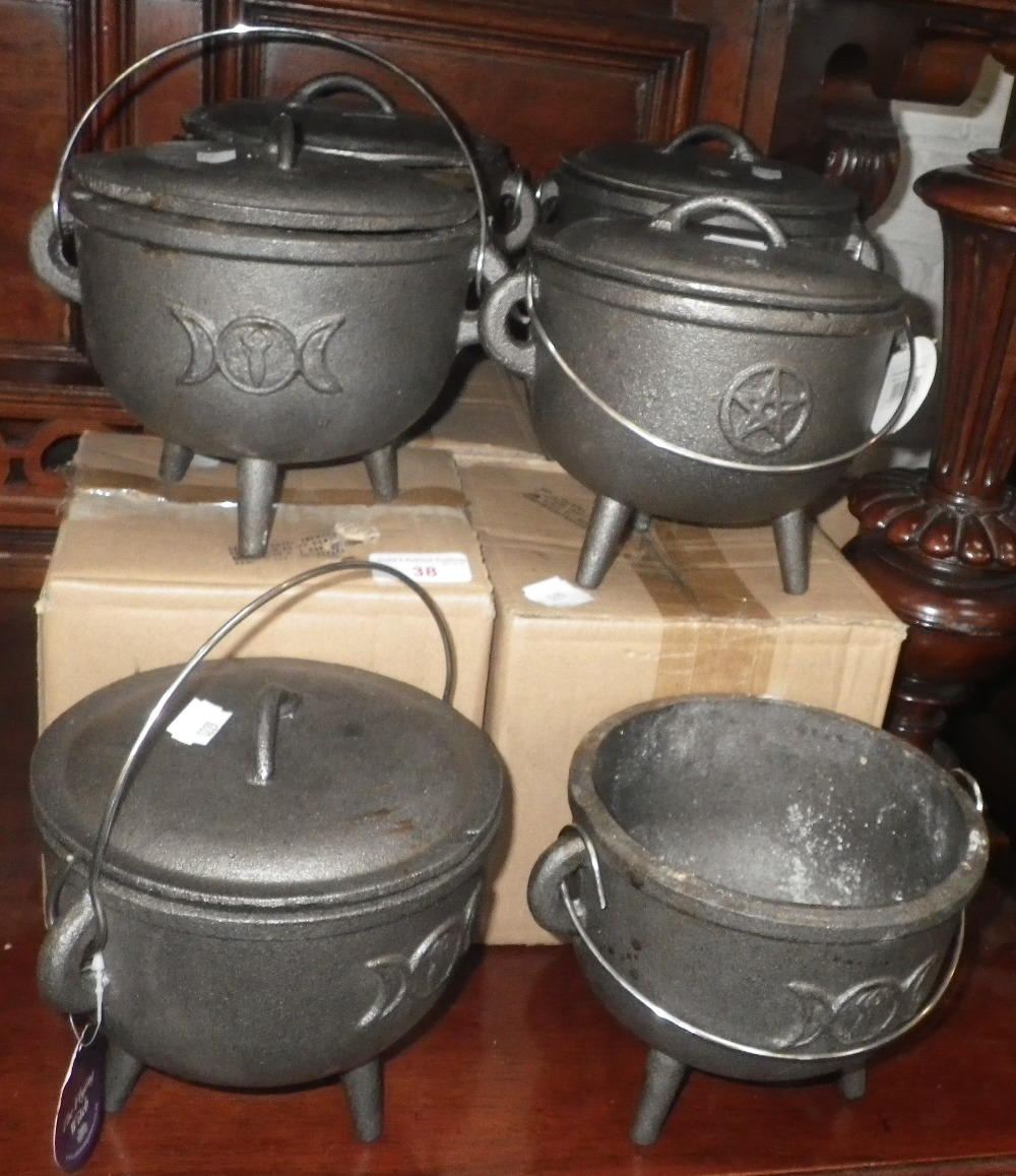 Lot 38 - A COLLECTION OF SMALL CAST IRON LIDDED CAULDRONS, some boxed, 15cm diam