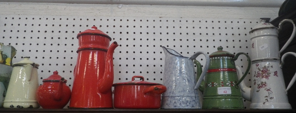 Lot 42 - A COLLECTION OF VINTAGE ENAMELWARE, including coffee pots