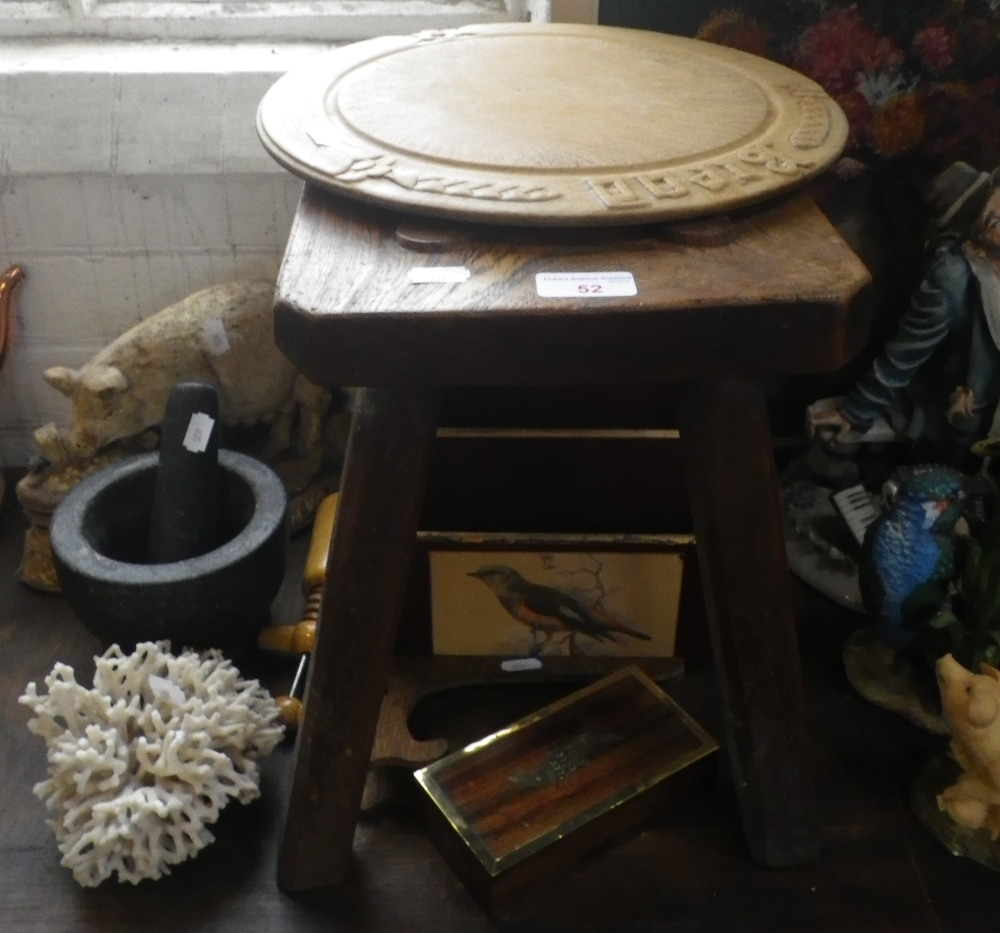 Lot 52 - A 19TH CENTURY ELM STOOL, a vintage carved bread board and other items