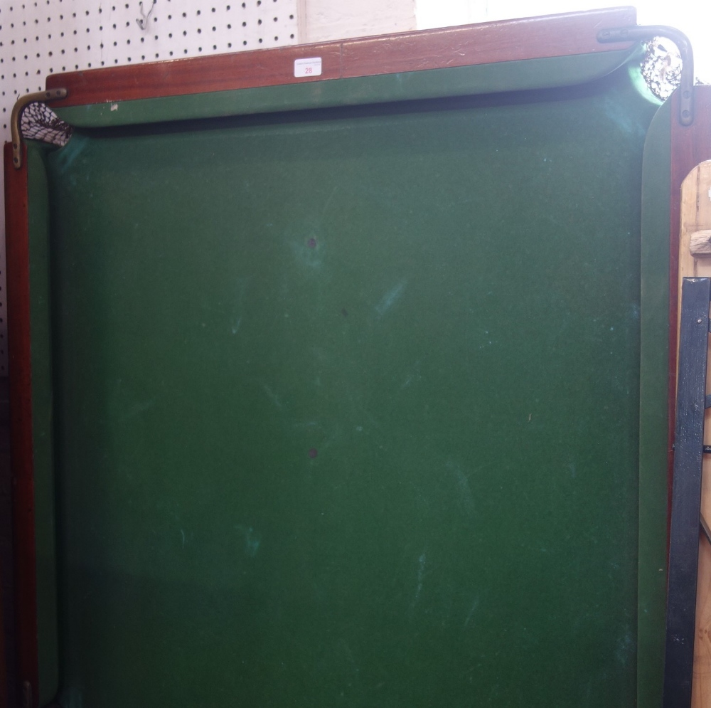 Lot 28 - A VINTAGE SLATE BED SNOOKER TABLE with mahogany edge, 193cm long (no legs)