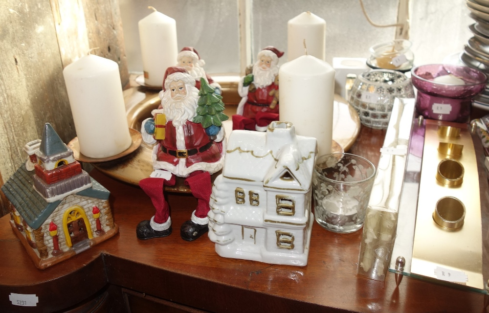 Lot 49 - A GILT TABLE CENTREPIECE with four candles, a collection of Father Christmas ornaments, candle