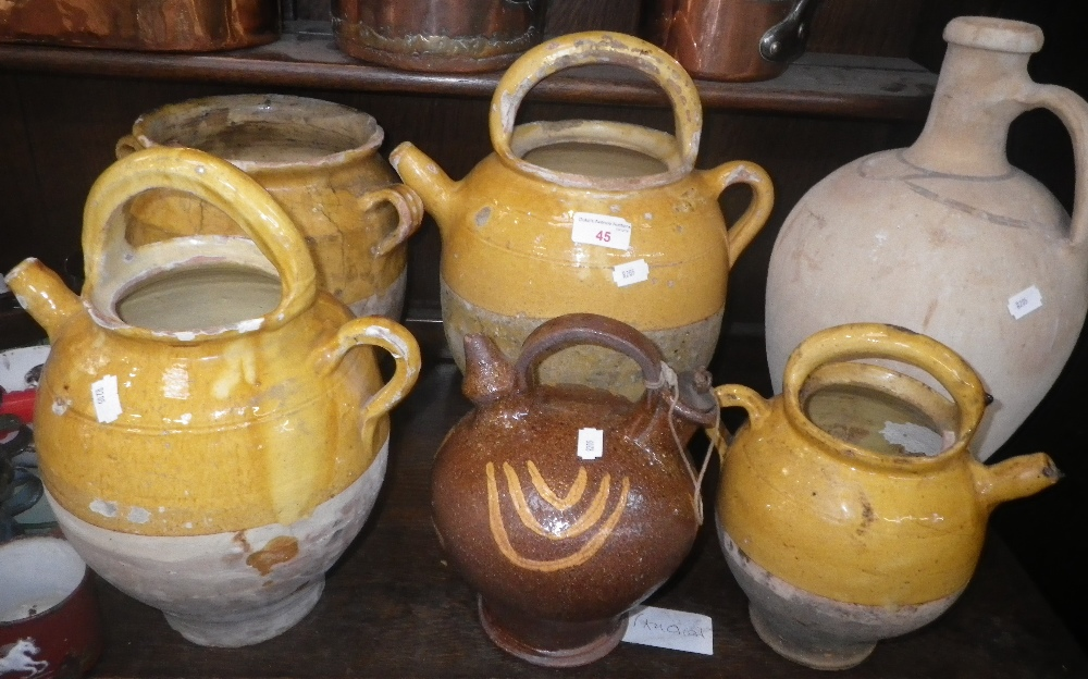 Lot 45 - A COLLECTION OF FRENCH YELLOW GLAZED WINE POTS AND OTHER ITEMS