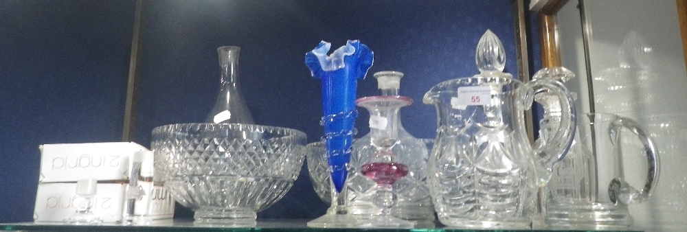 Lot 55 - A COLLECTION OF GLASSWARE including decanters