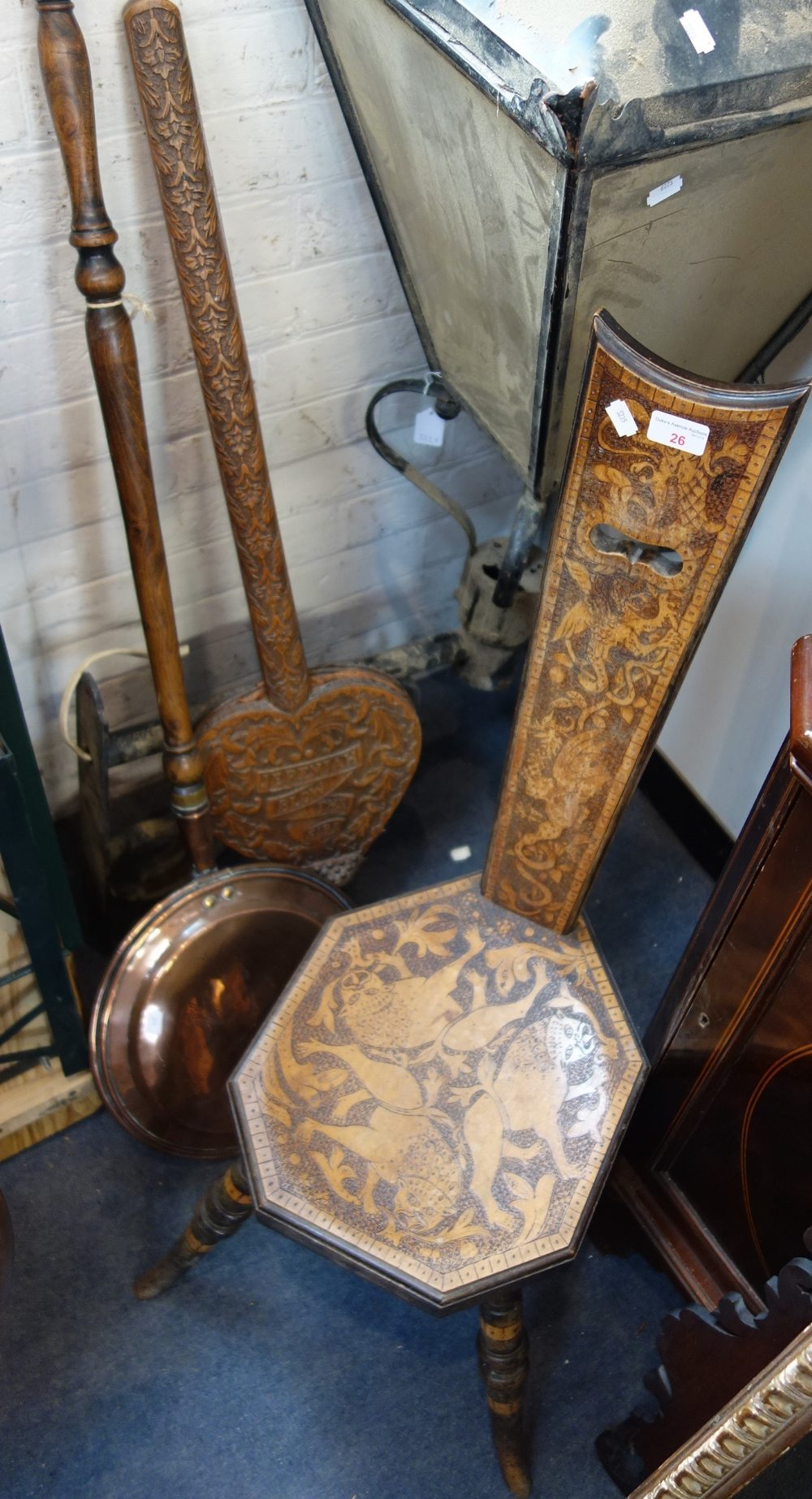 """Lot 26 - A PAIR OF ARTS AND CRAFTS STYLE CARVED WOODEN BELLOWS inscribed """"Jeremiah Blow the Fire"""", a"""