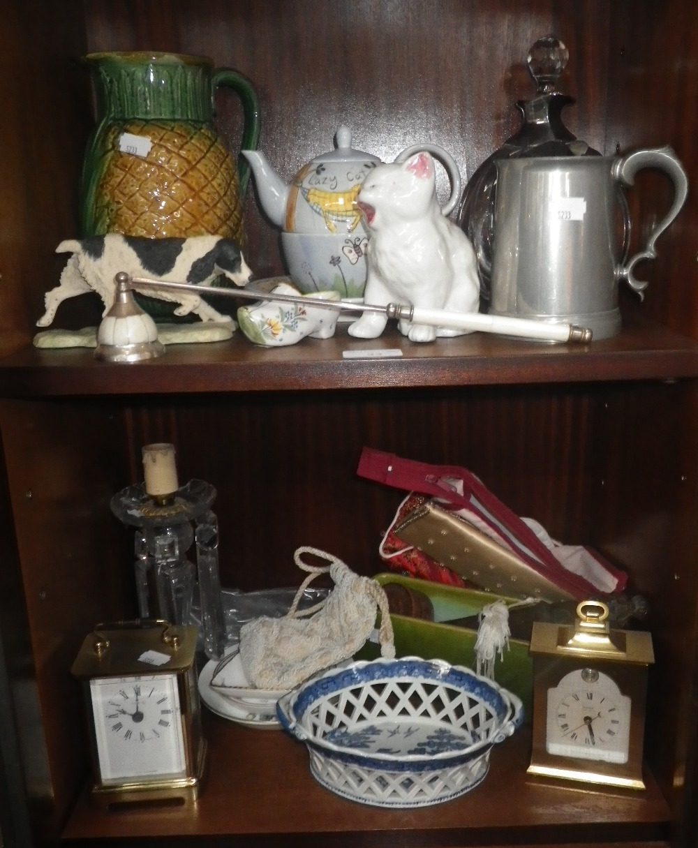 Lot 33 - A PEARLWARE WILLOW PATTERN BON BON BASKET, a Majolica pineapple jug, a wooden page turner and