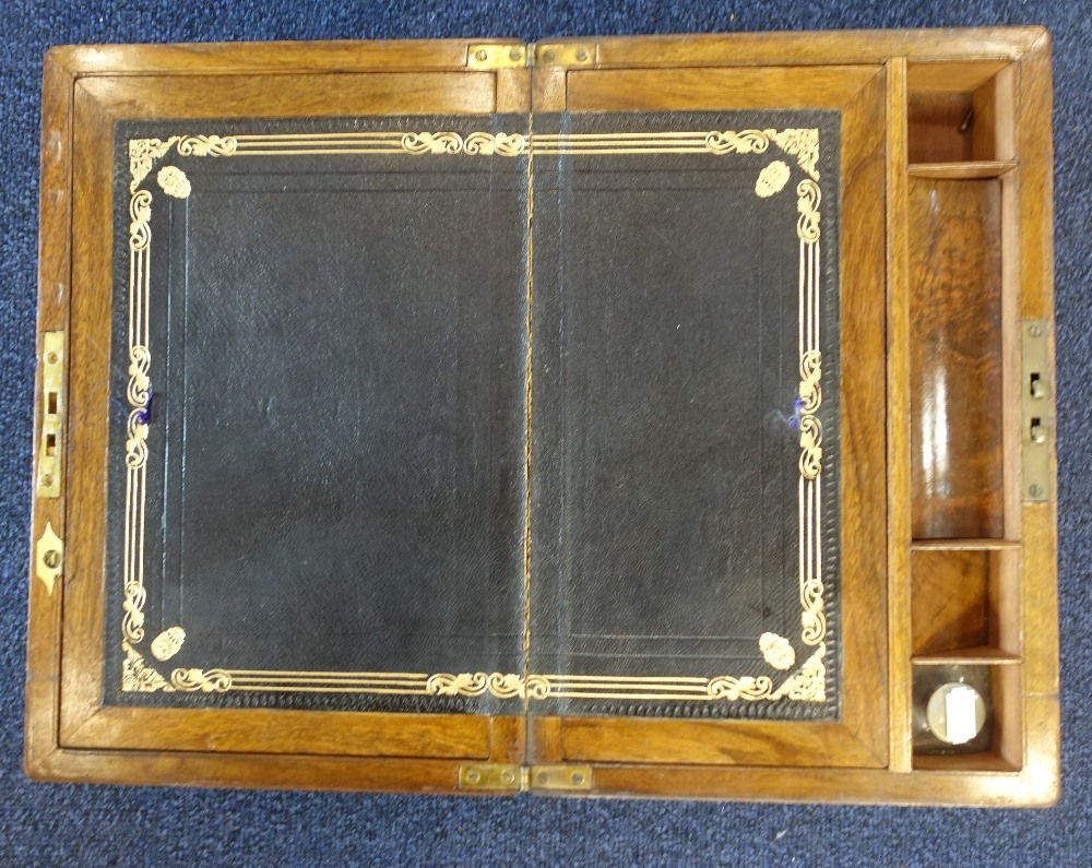 Lot 13 - A VICTORIAN BRASS BOUND WALNUT WRITING SLOPE with fitted interior