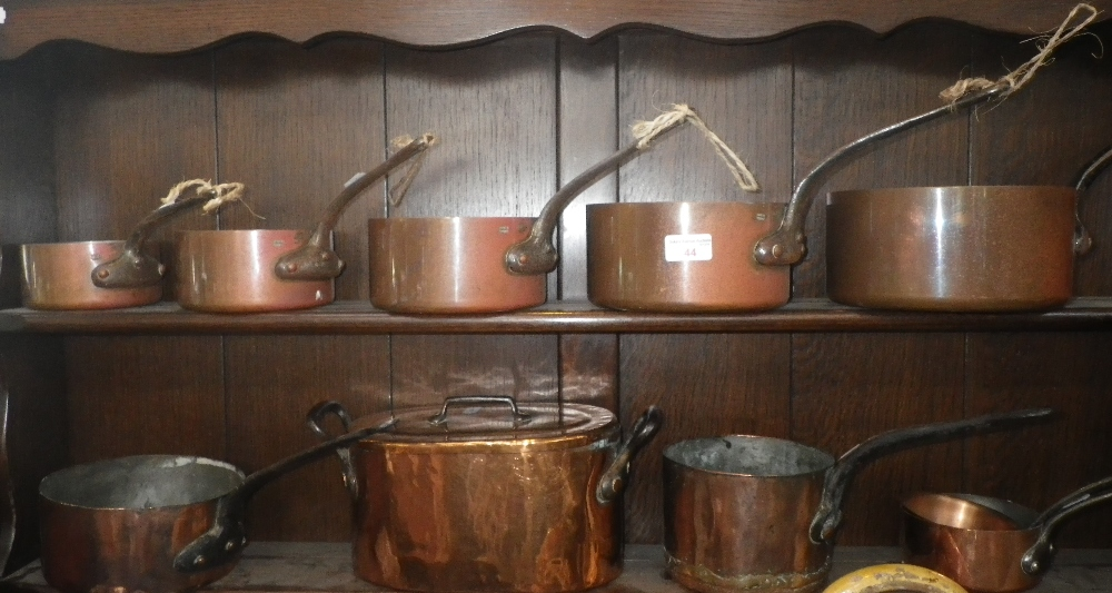 Lot 44 - A COLLECTION OF ANTIQUE AND MODERN FRENCH COPPER SAUCEPANS