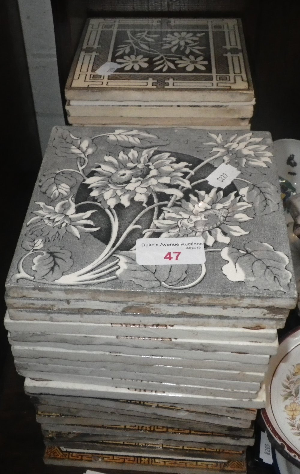 Lot 47 - A COLLECTION OF VICTORIAN TRANSFER PRINTED TILES, including some sets