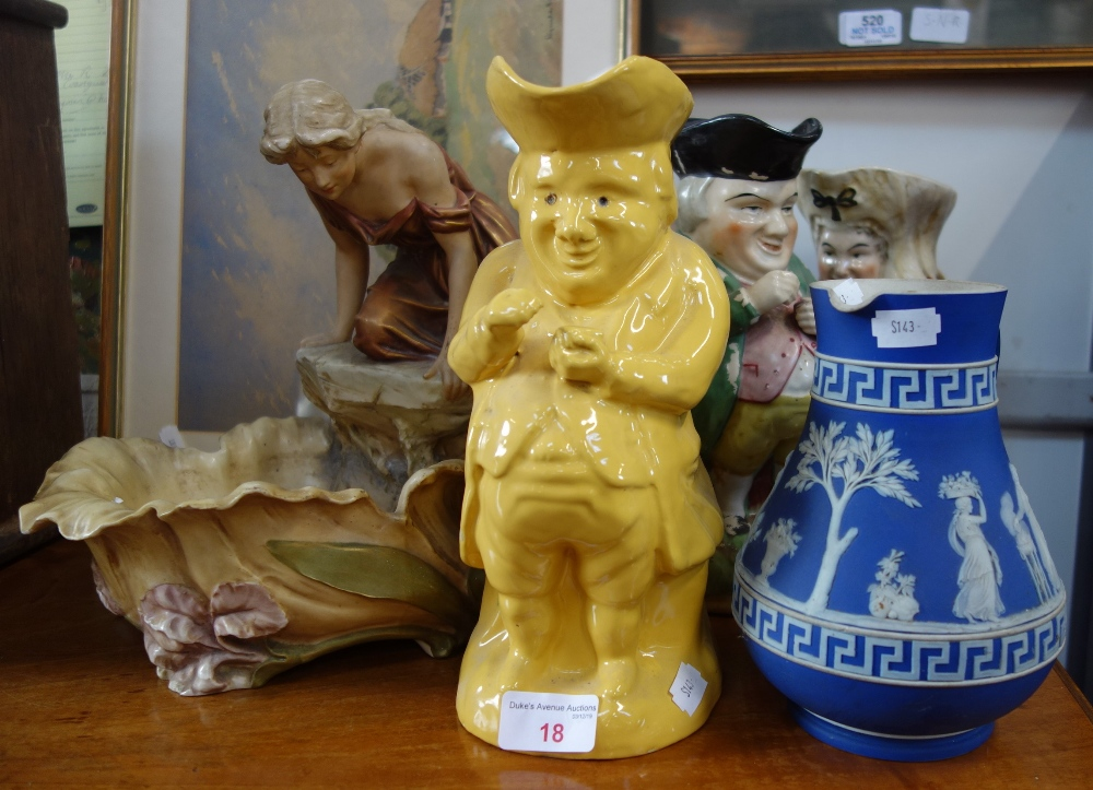 Lot 18 - A ROYAL DUX FIGURE OF A GIRL ON A ROCK LOOKING INTO A POOL, a Wedgwood Jasperware jug and three