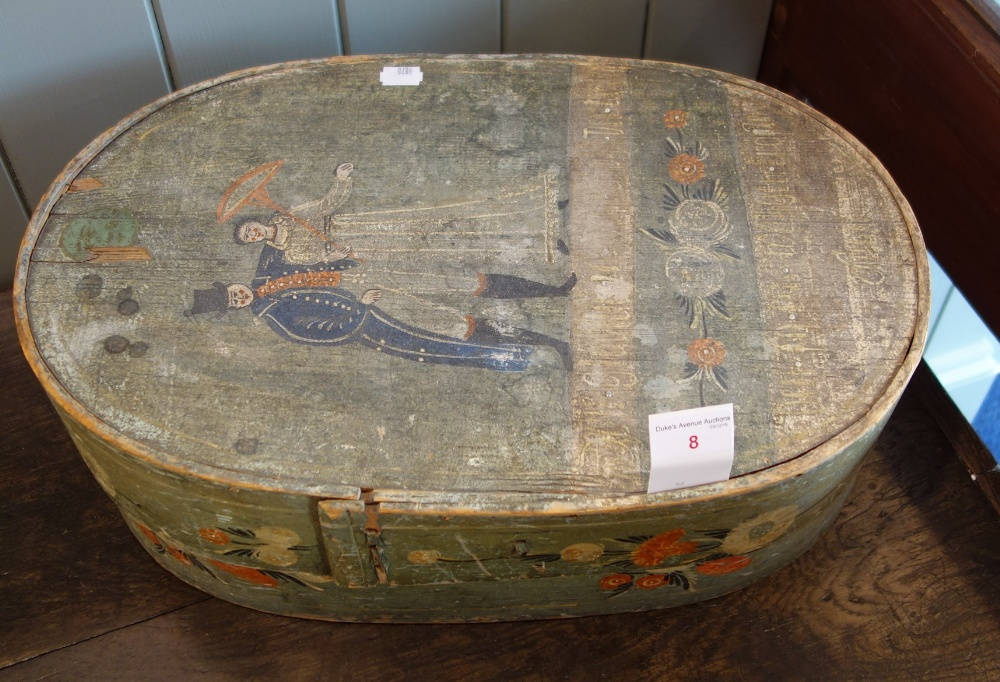 Lot 8 - A 19TH CENTURY EUROPEAN STEAMED WOODEN BOX painted with a wedding scene and inscription, 48cm long