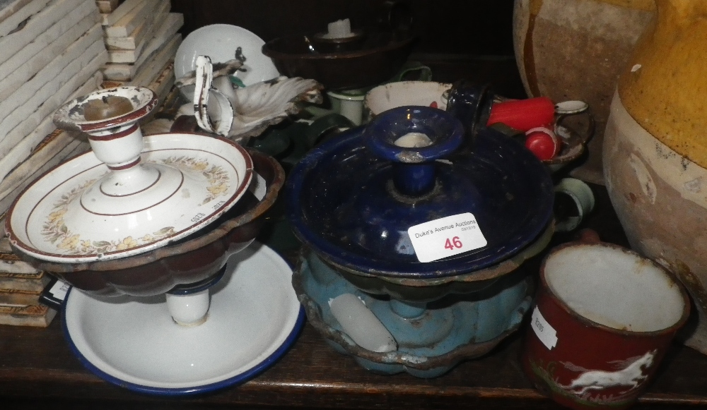Lot 46 - A COLLECTION OF VINTAGE ENAMEL CHAMBERSTICKS and other items