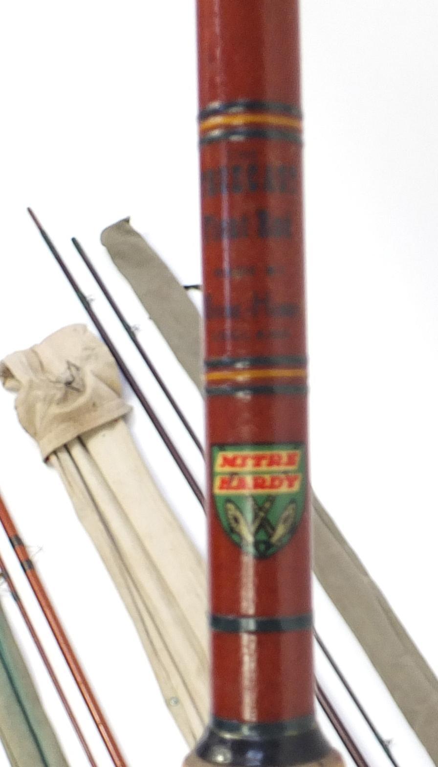 Lot 116 - Five vintage fishing rods including two Hardy split cane spinning rods, Allcocks Little Gem split