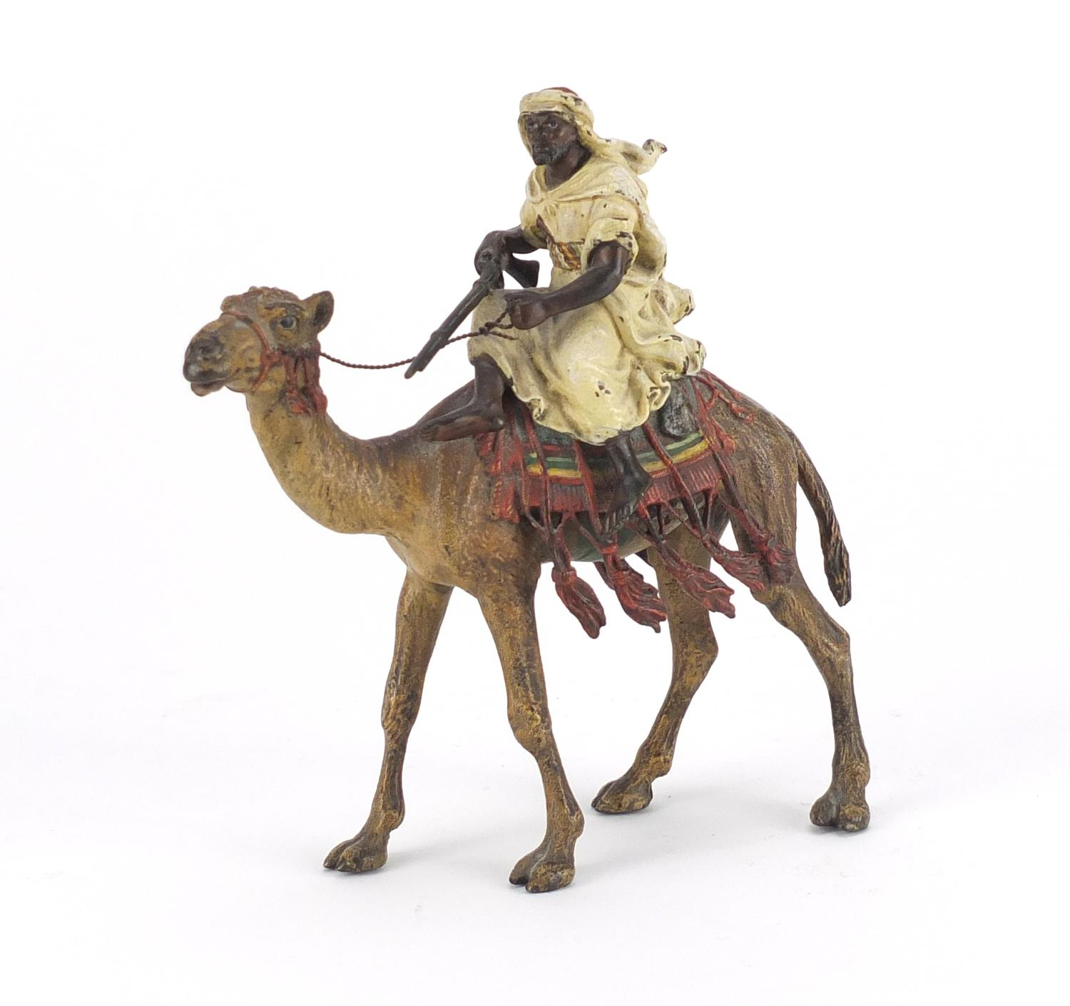 Lot 6 - Franz Xaver Bergmann, Austrian cold painted bronze figure of an Arab huntsman on camelback,