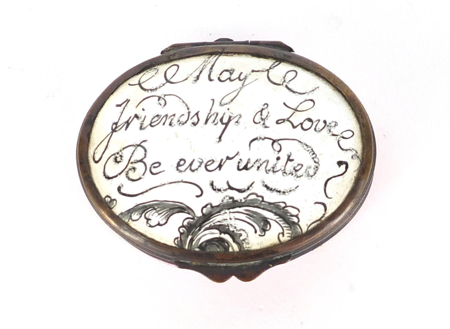 Lot 43 - 18th century Bilston enamel patch box, the hinged lid inscribed 'May Friendship and Love be Ever