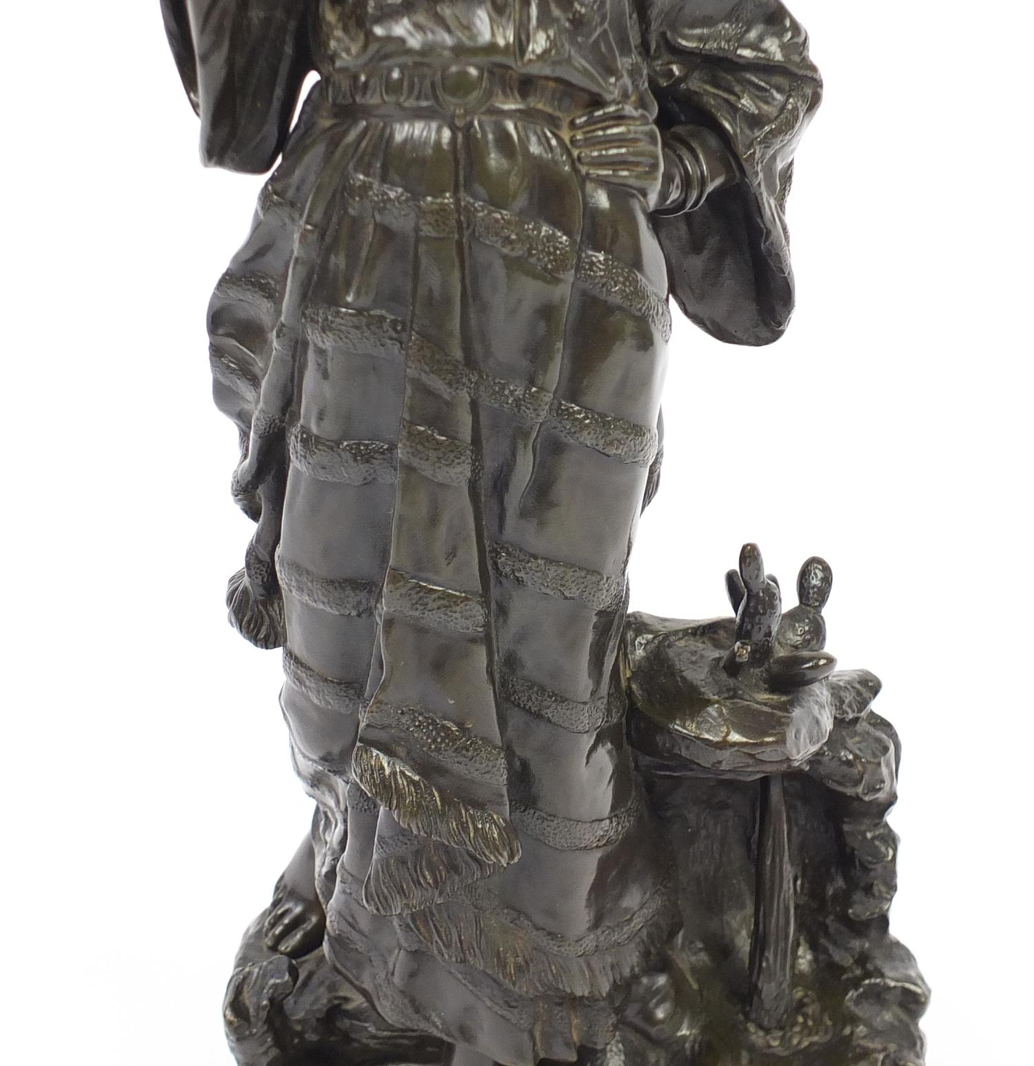 Lot 3 - Edouard Drouot, large patinated bronze study of a female holding a vessel, Retour Le Fountain, 60.