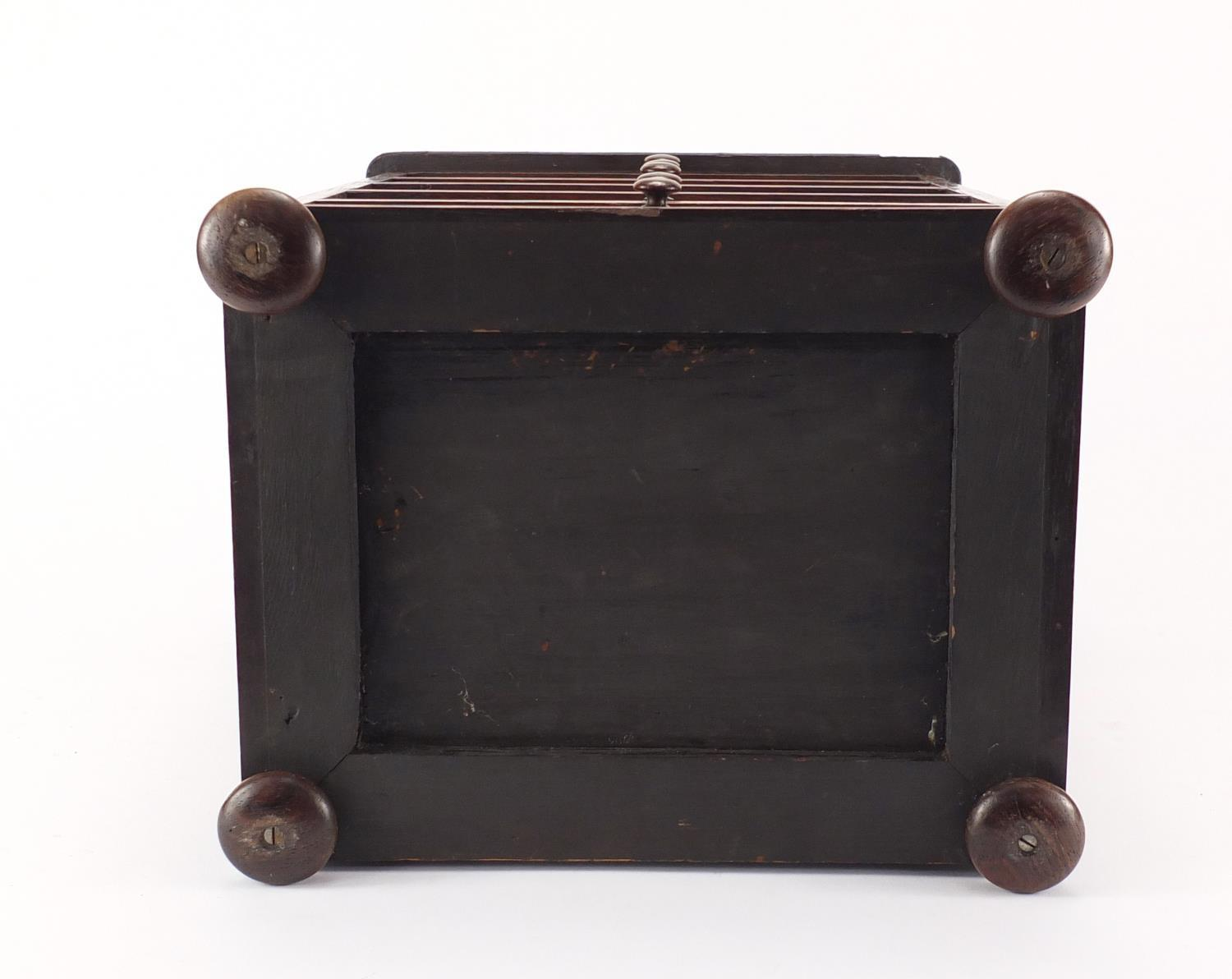 Lot 40 - Victorian rosewood five drawer apprentice chest with oak inlay, 37.5cm H x 27.5cm W x 21cm D :For