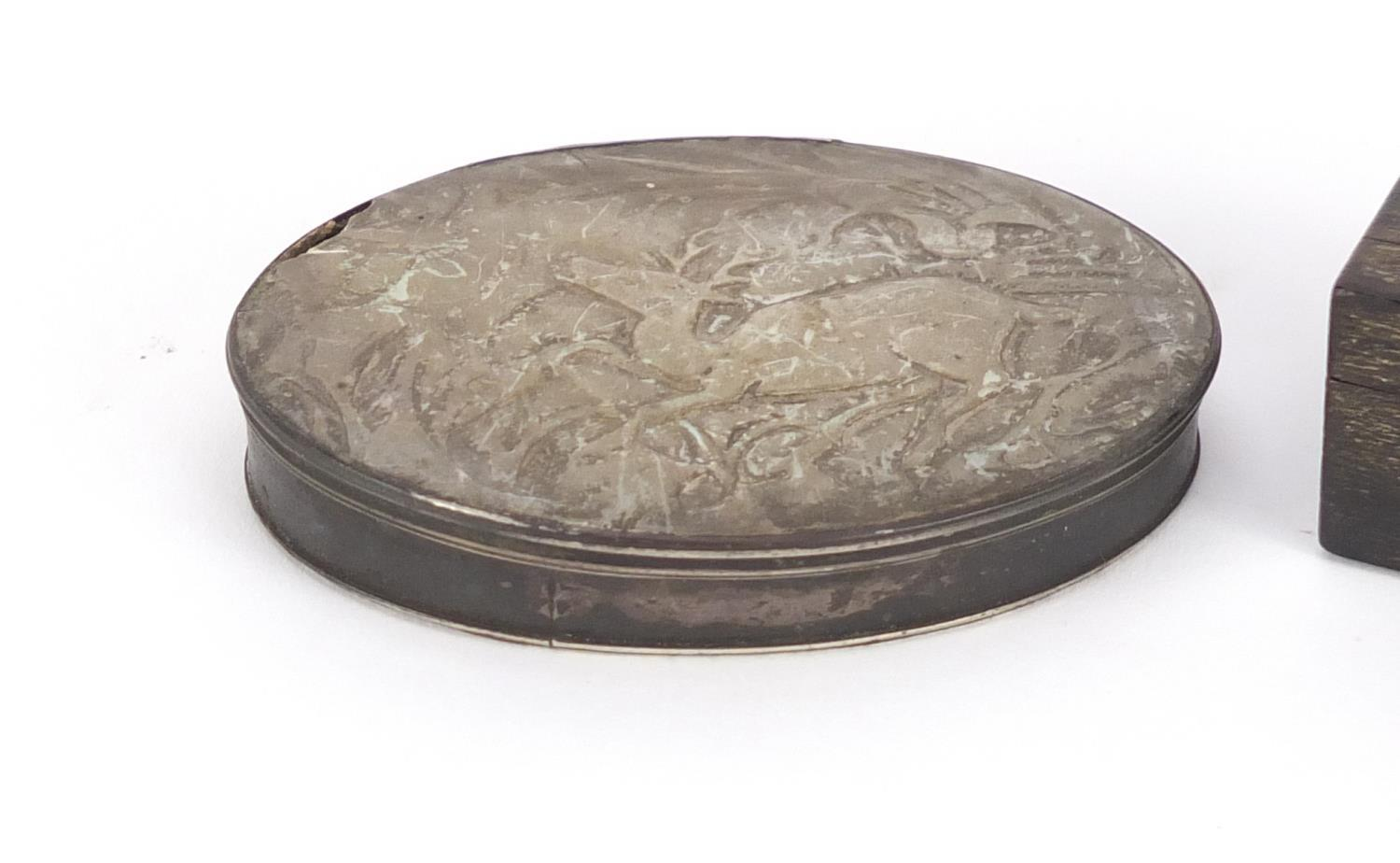 Lot 49 - Two 18th century snuff boxes comprising a silver, mother of pearl and tortoiseshell example and