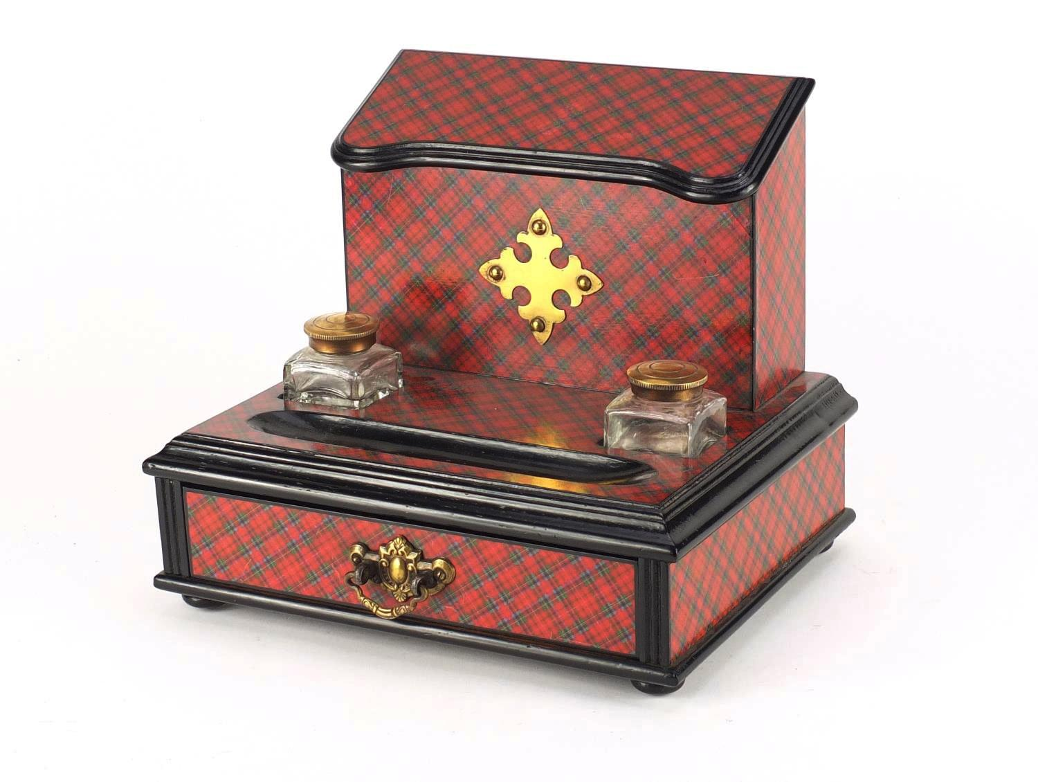 Lot 30 - Victorian Tartanware desk stand, fitted with a letter rack and a pair of glass inkwells above a base