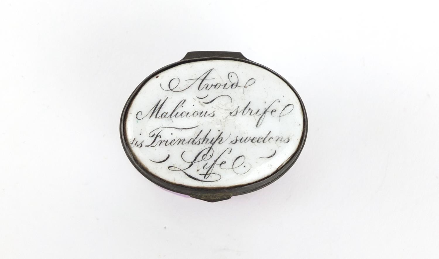 Lot 42 - 18th century Bilston enamel patch box, the hinged lid inscribed 'Avoid Malicious Strife Tis