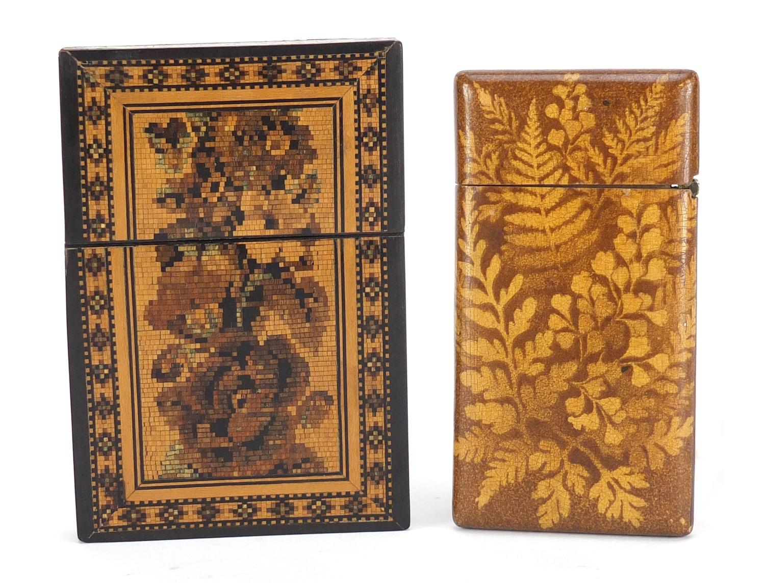Lot 33 - Two Victorian calling card cases including a Tunbridge Ware example with micro mosaic inlay, the