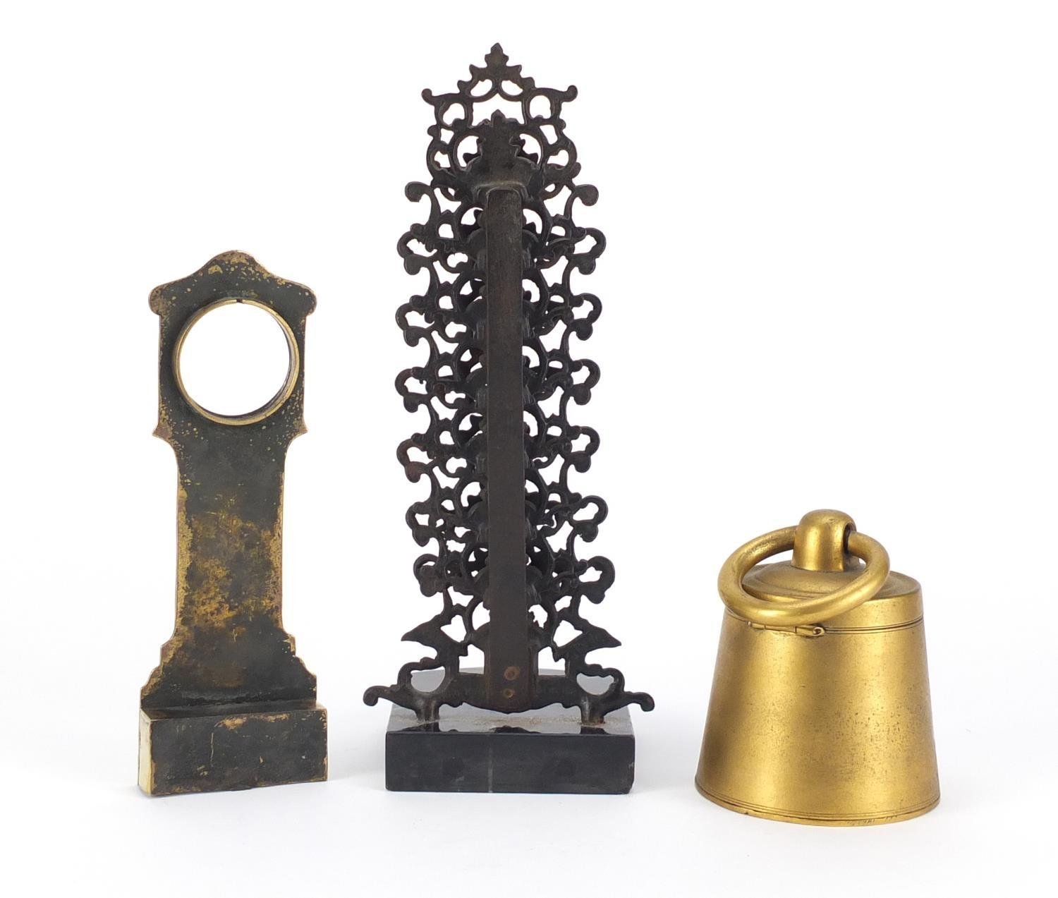 Lot 55 - Objects comprising a Georgian brass watch stand in the form of a grandfather clock, gilt metal