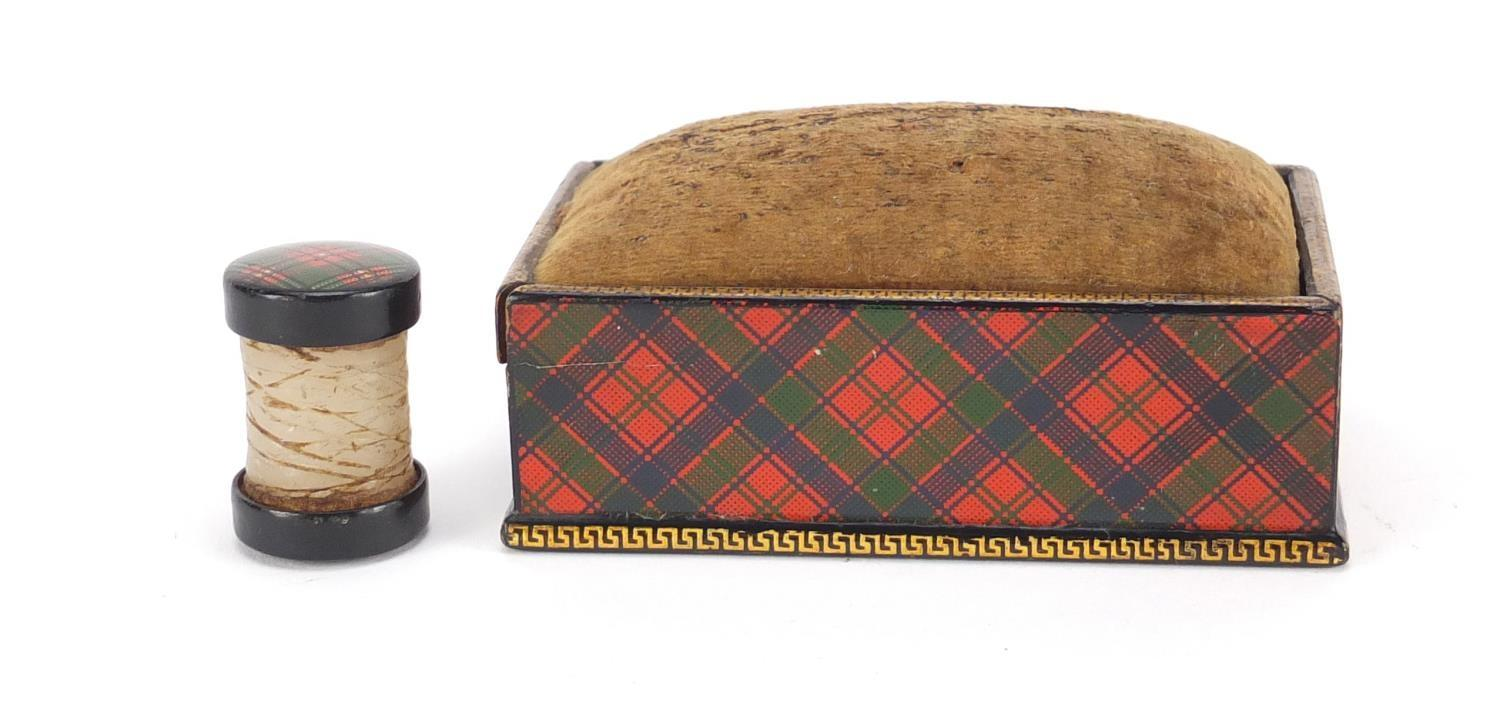 Lot 31 - Victorian Tartanware thread waxer and rectangular pin cushion box having a sliding lid together with