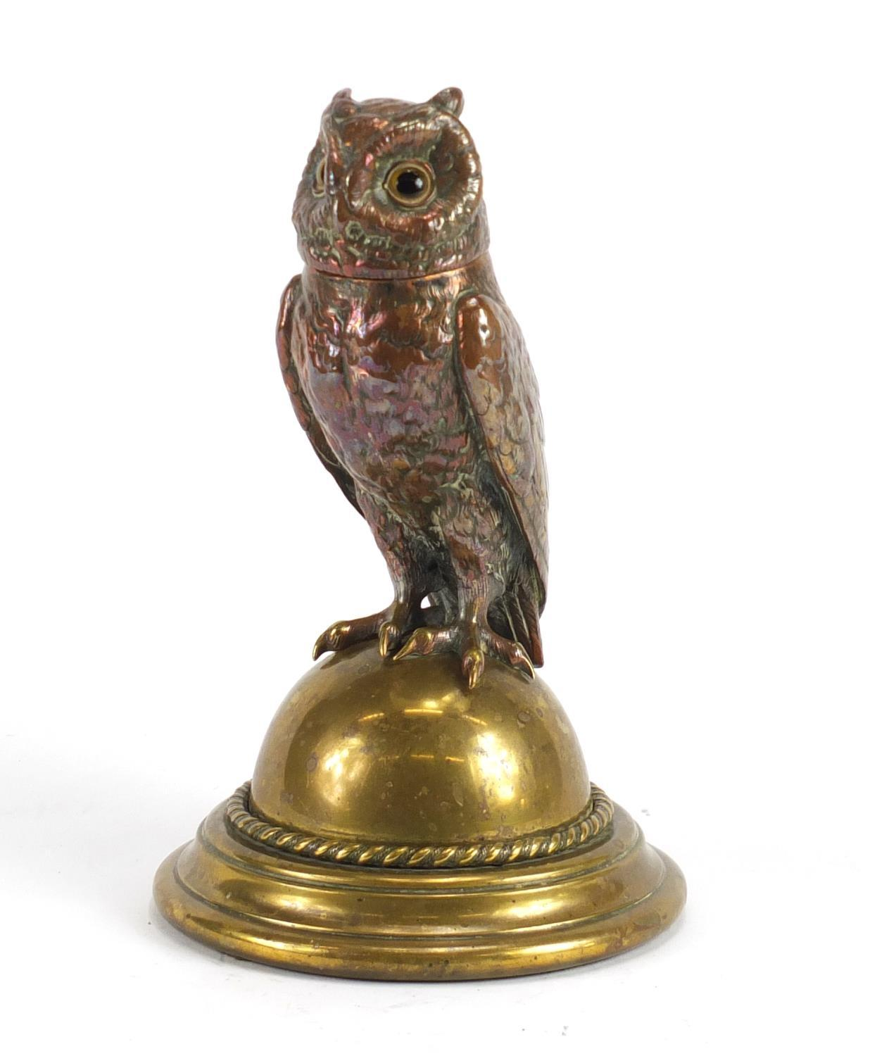 Lot 20 - Novelty Victorian copper and brass owl design desk inkwell, 23cm high :For Further Condition Reports
