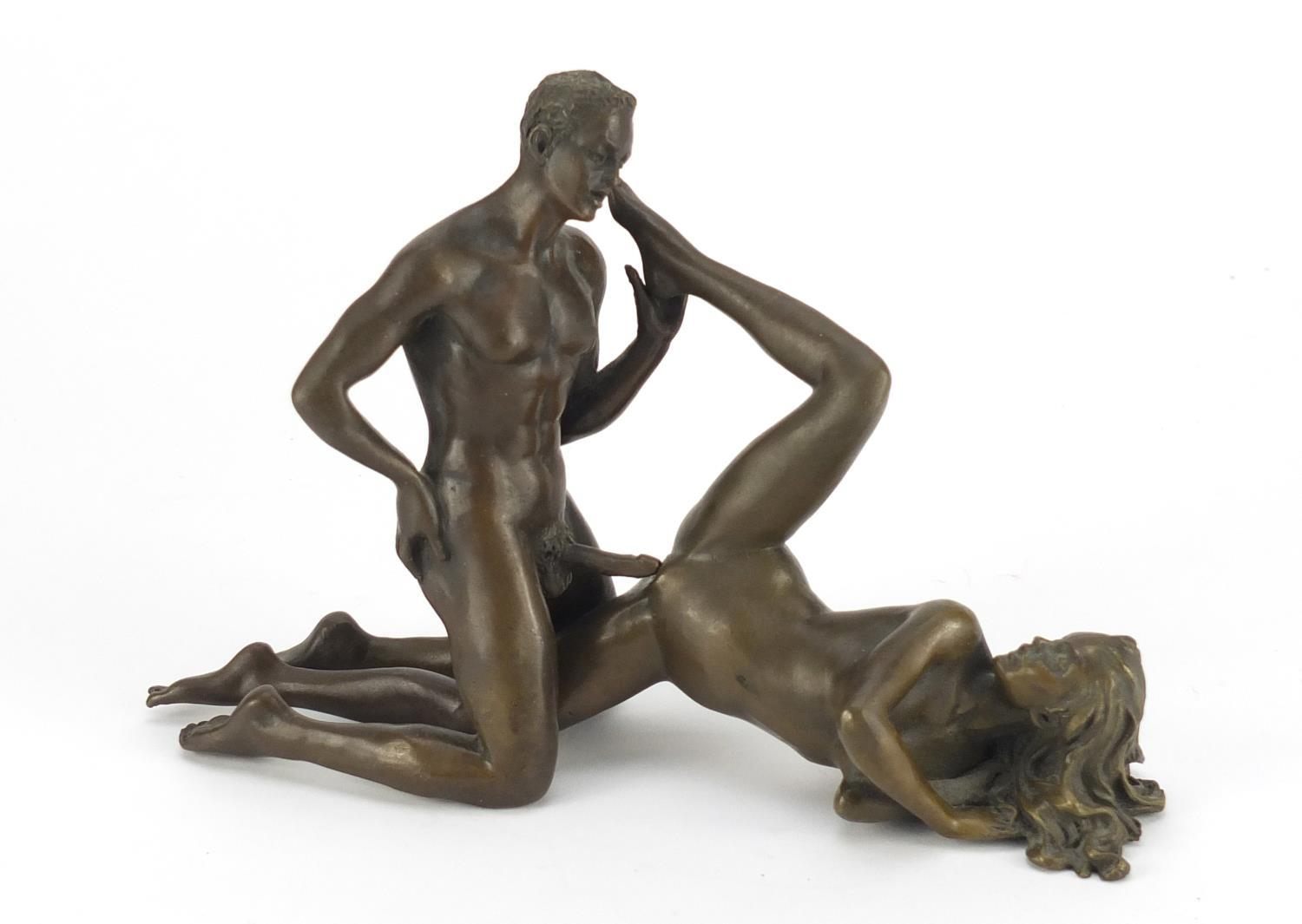 Lot 11 - J Patoue, two erotic patinated bronzes of a nude male and a female, both signed, the largest 15cm in