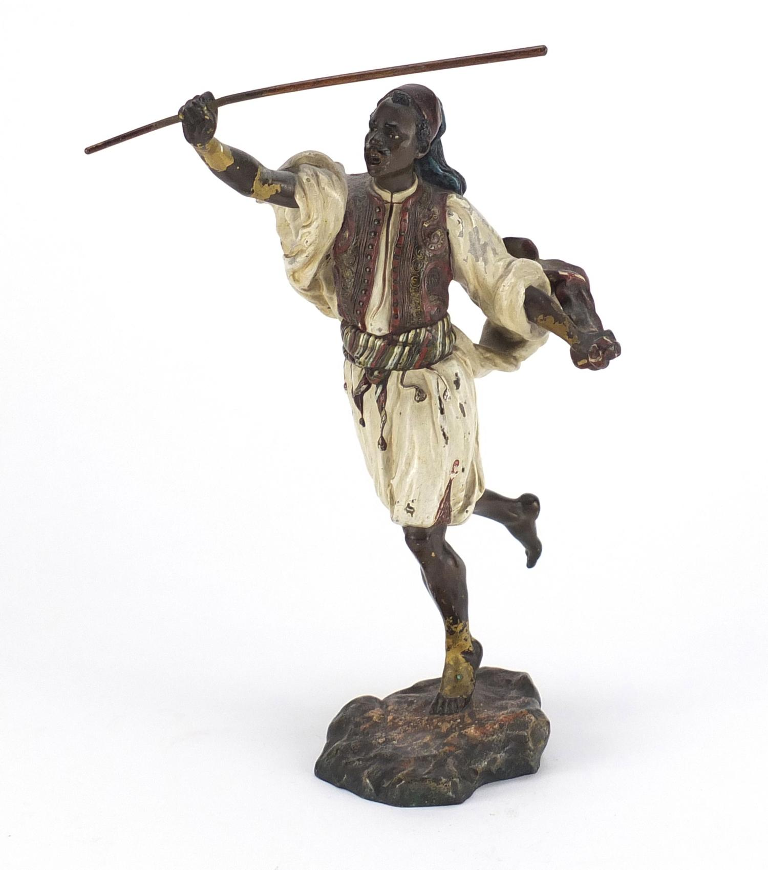 Lot 5 - Franz Xaver Bergmann, large Austrian cold painted bronze figure of an Arab huntsman, impressed marks
