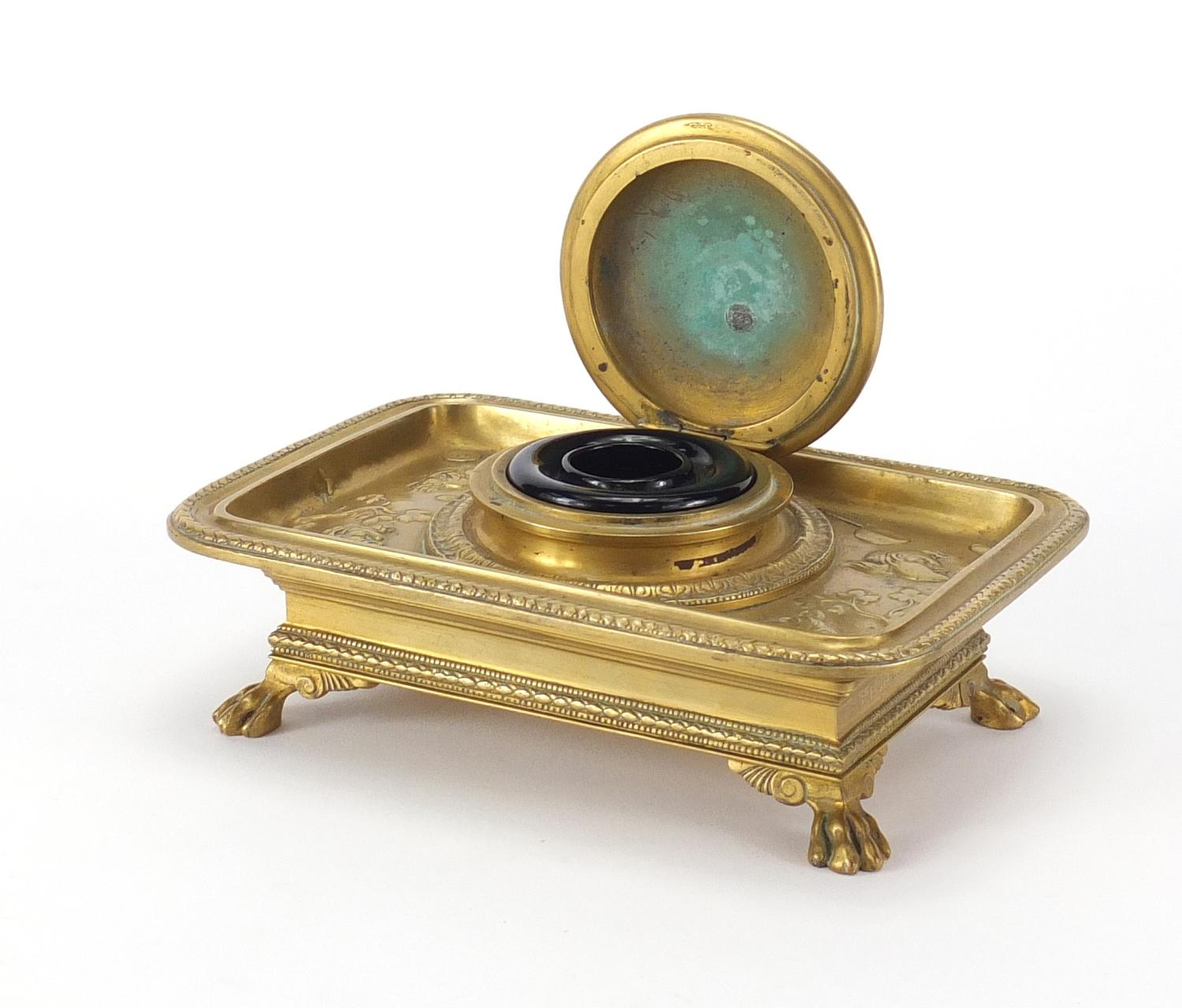 Lot 19 - 19th century French Ormolu desk inkwell with blue glass liner by Ferdinard by Barbedienne