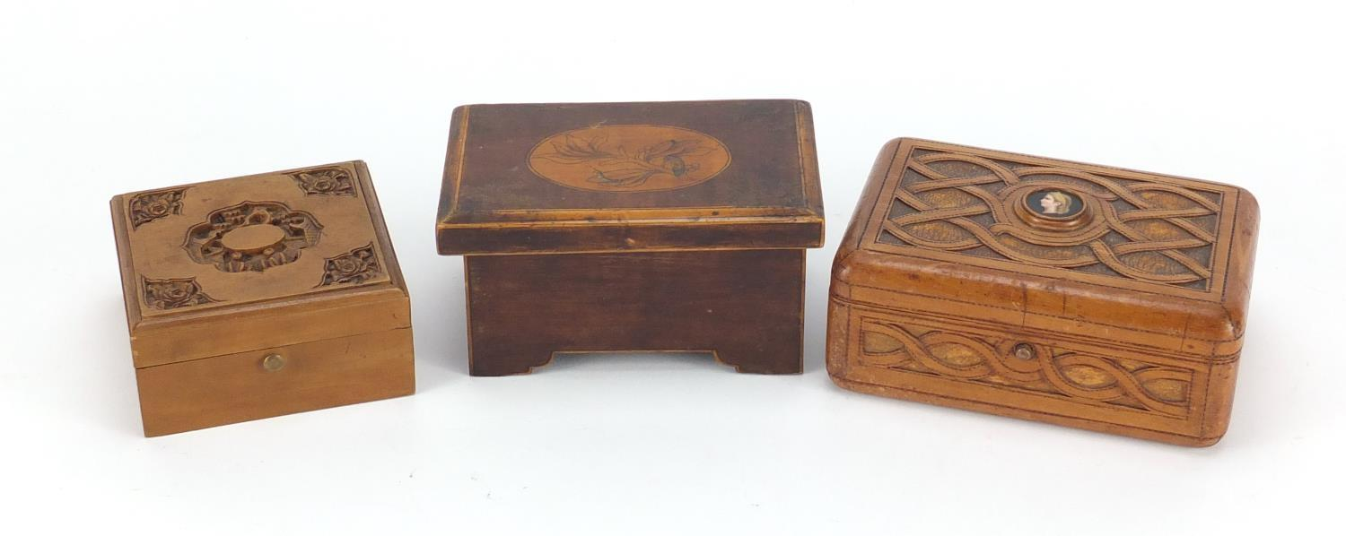 Lot 39 - Wooden boxes including a Chinese Canton sandalwood example and a continental example, having a