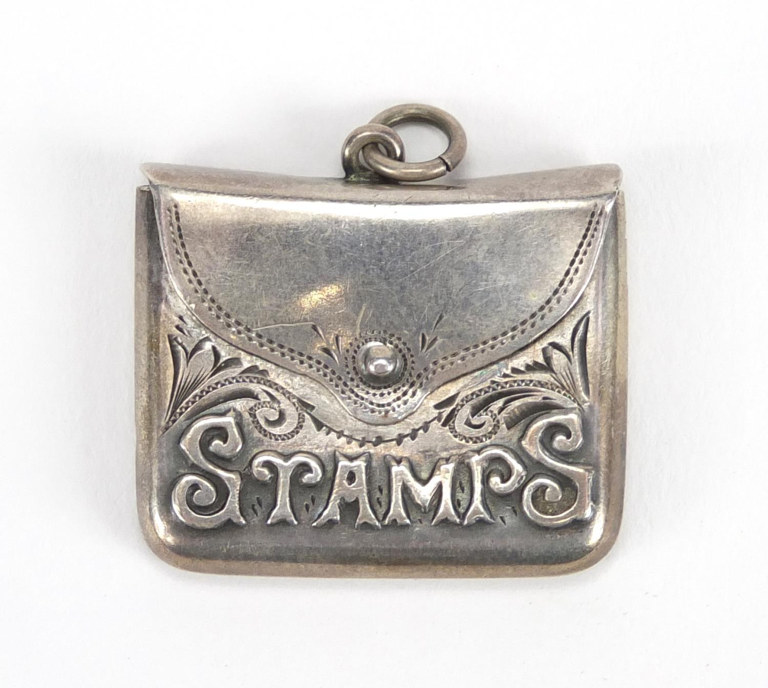 Lot 938 - Rectangular silver stamp box pendant, 3cm in length : For Further Condition Reports Please visit our