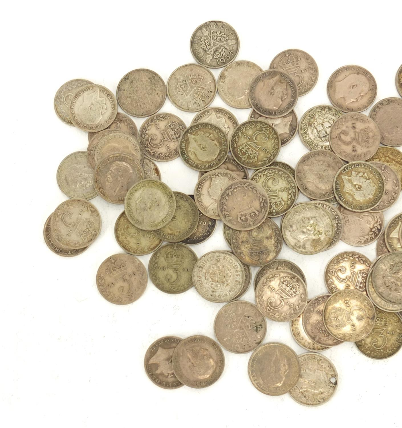Lot 975 - Mostly pre 1947 British three penny bits, 106.0g : For Further Condition Reports Please visit our