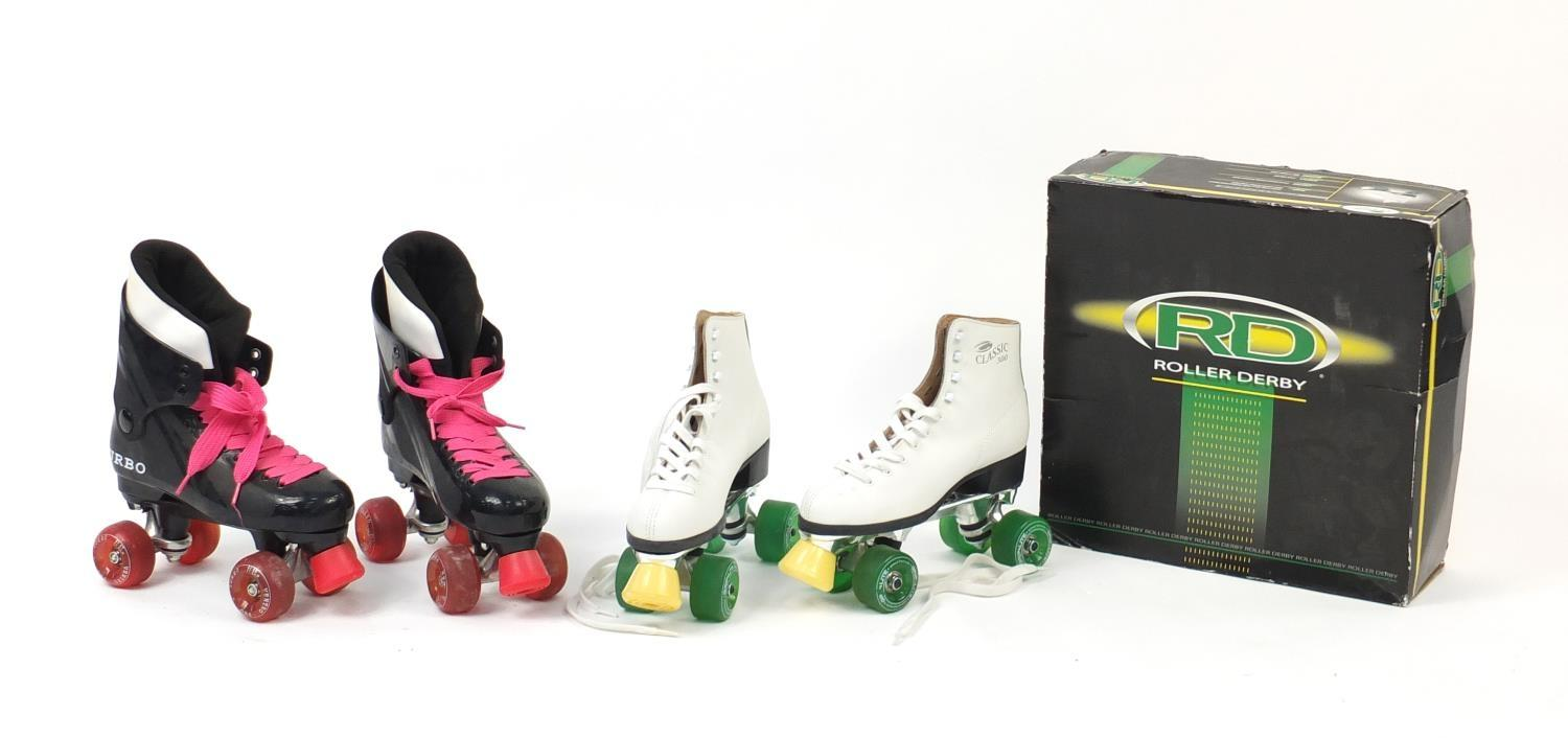 Lot 697 - Two pairs of vintage roller boots including Roller Derby Classic 300, size 8 : For Further Condition