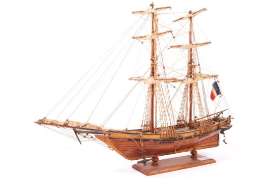 A Vintage Model Wooden Tall Ship Ouragan Set To A Plinth Base