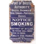 RARE EARLY 20TH CENTURY PORT OF BRISTOL ENAMEL NOTICE SIGN