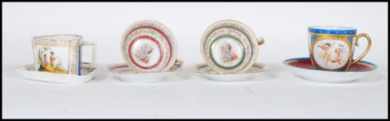 A collection of 19th Century Austrian porcelain bone china cabinet cups and saucers comprising an