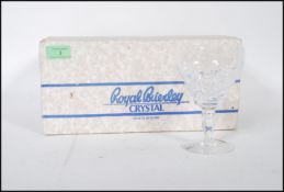 A set of six Royal Brierley cut glass crystal wine glasses in the Elizabeth Goblet pattern, faceted