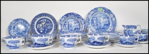 A quantity of 20th Century blue and white printed Spode Italian pattern china wares comprising of