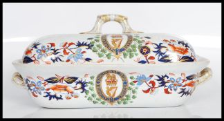 A 19th Century Victorian Spode tureen having hand painted Imari decoration to the sides bearing
