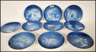 A group of ten B&G Limited edition blue and white annual Christmas plates dating from 1973 -