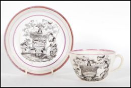 A 19th Centurycommemorative tea cup and saucer fo