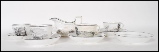 An early 19th century New Hall porcelain part tea service, consisting of four tea cups, five saucers