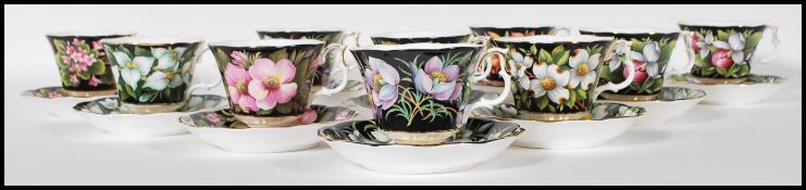 A Royal Albert part tea service in the provincial flowers patterns being stamped to the underside.